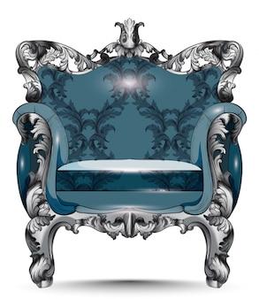 Poltrona di lusso barocca. mobili con tessuto ornamentale vittoriano. vector realistico 3d d