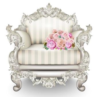 Poltrona di lusso barocca con rose, ricchi mobili intagliati decorati