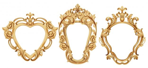 Cornice dorata di lusso barocco. elegante decorazione a specchio. ornamenti vittoriani ricchi incorniciati