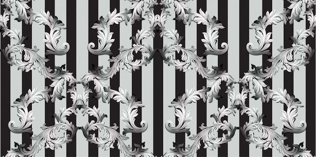 Decorazione fatta a mano dell'ornamento dell'illustrazione del modello barrocco. trame di sfondo a righe. nero e grigio