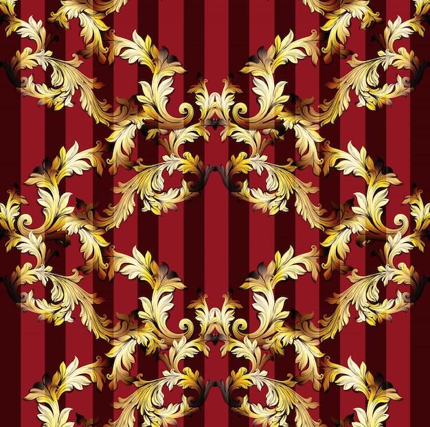Ornamento fatto a mano dell'ornamento dell'illustrazione di vettore del modello barrocco. trame di sfondo a righe. colori oro e rosso