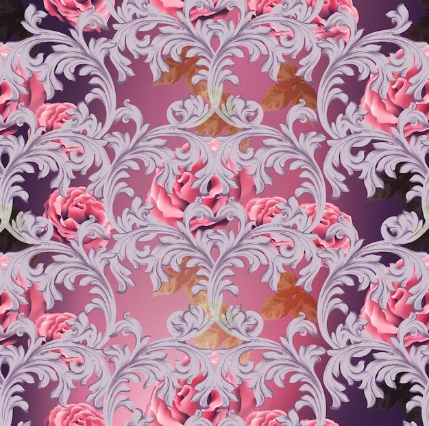 Modello barocco con fiori rosa vector. ornamenti di lusso fatti a mano