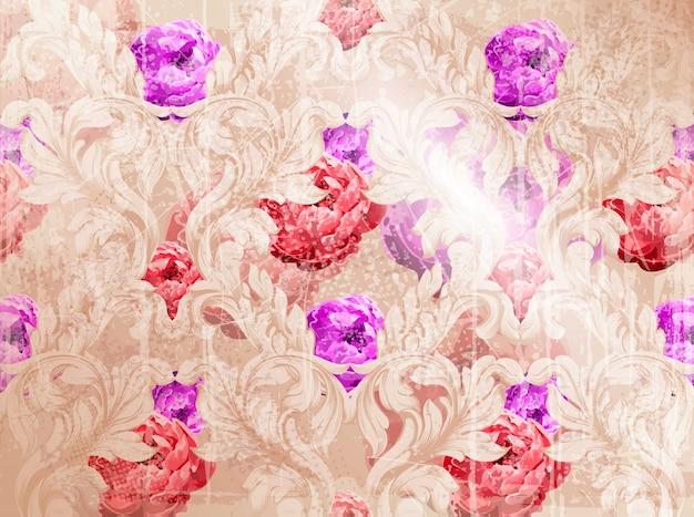 Modello barocco con i fiori dell'acquerello. ornamenti di lusso fatti a mano