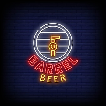 Testo di stile delle insegne al neon di logo della birra del barilotto