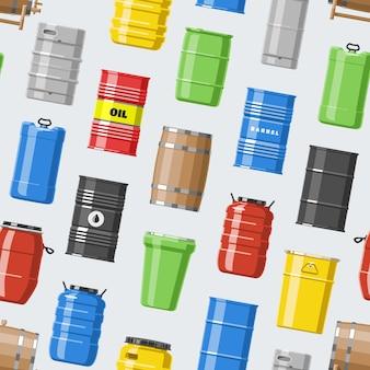 Barili di petrolio con carburante e vino o birra botte in botti di legno illustrazione alcol barreling in contenitori o sfondo di archiviazione modello senza soluzione di continuità