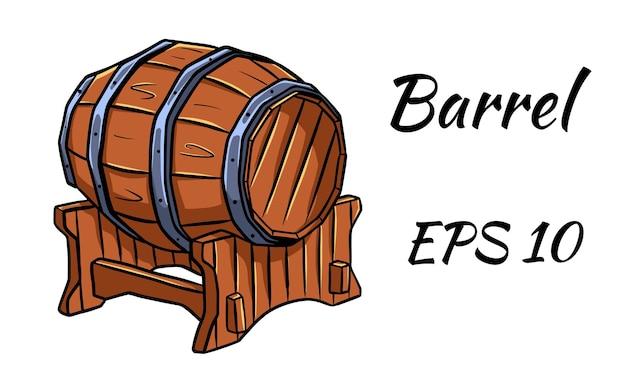 Botte per vino o birra. illustrazione vettoriale. isolato su uno sfondo bianco.