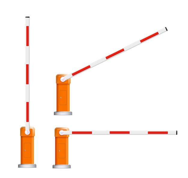 Illustrazioni dettagliate del gruppo di barriere di barriere automobilistiche rosse e bianche aperte e chiuse