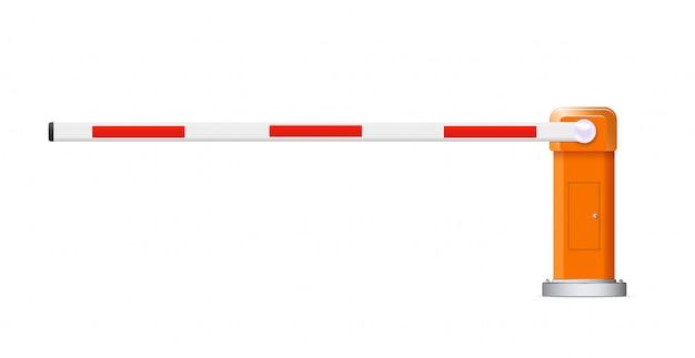Stormo di barriere. illustrazioni dettagliate barriere automobilistiche rosse e bianche.