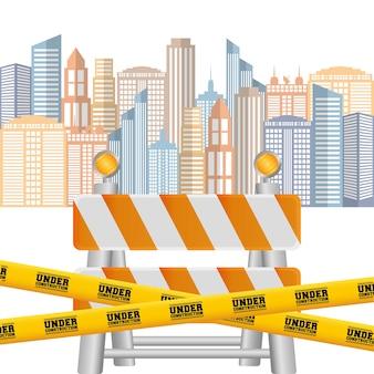 Nastro di barriera stradale sotto fondo di paesaggio urbano di costruzione