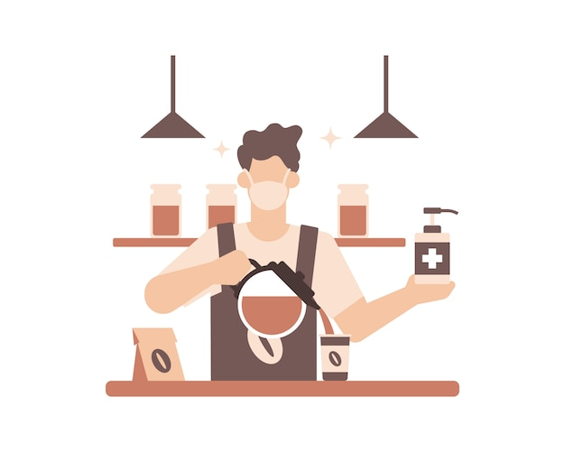 Un barista o una caffetteria che pratica protocolli di sicurezza sanitaria indossando una maschera per il viso e lavandosi le mani usando l'illustrazione del disinfettante per le mani