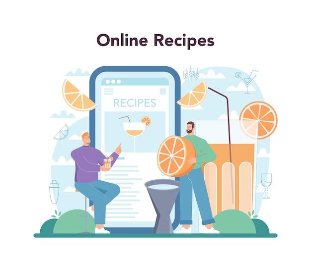 Servizio o piattaforma online di barman. barman che prepara alcolici