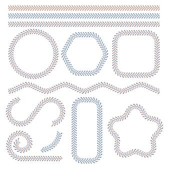 Lacci a palla da baseball, punti decorativi rossi e blu. linee di corsa del punto di softball, set di illustrazioni vettoriali isolate per cuciture di allacciatura da baseball. elementi di punti di baseball. percorso di pizzo softball isolato