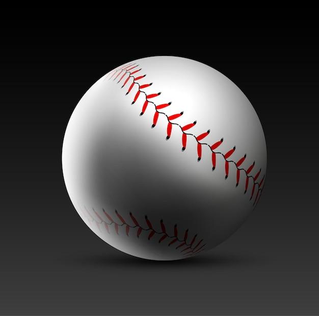 Fondo realistico di vettore della palla da baseball illustrazione della palla di base di softball