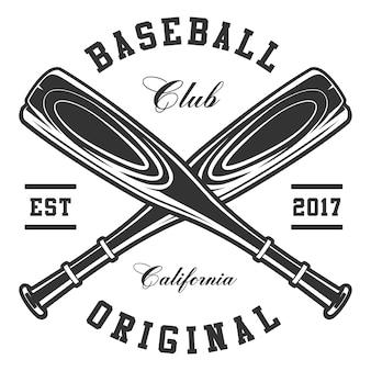 Mazze da baseball su sfondo bianco. il testo è sul livello separato.