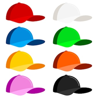 Insieme dell'icona del berretto da baseball isolato su priorità bassa bianca. illustrazione vettoriale di stile piatto. giovani uomini o donne sport cappello vista laterale, protezione solare estiva. rosso, bianco, blu, verde, giallo, arancione, rosa, nero.