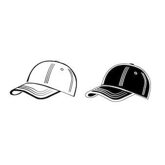 Berretto da baseball in stile contorno su sfondo bianco.