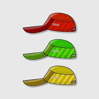Set di adesivi modello di berretto da baseball vettore