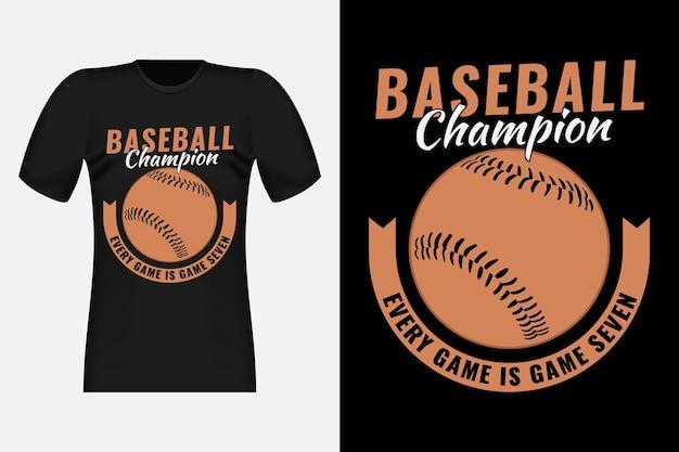 Design di t-shirt vintage in stile disegnato a mano da campione di baseball