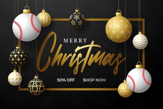 Cartolina di natale di baseball. cartolina d'auguri di buon natale sportivo. appendi su una palla da baseball filo come una palla di natale e una pallina d'oro su sfondo nero orizzontale. illustrazione vettoriale di sport.