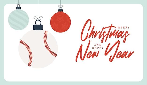 Cartolina d'auguri di natale di baseball. buon natale e felice anno nuovo fumetto piatto sport banner. palla da baseball come una palla di natale sullo sfondo. illustrazione vettoriale.