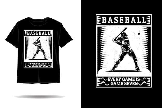 Baseball ogni partita è il design della maglietta della silhouette del gioco sette