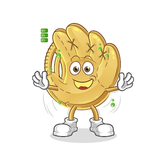 Guanto da baseball con carattere a batteria piena. mascotte dei cartoni animati