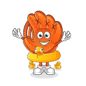 Guanto da baseball con illustrazione di cartone animato anatra boa