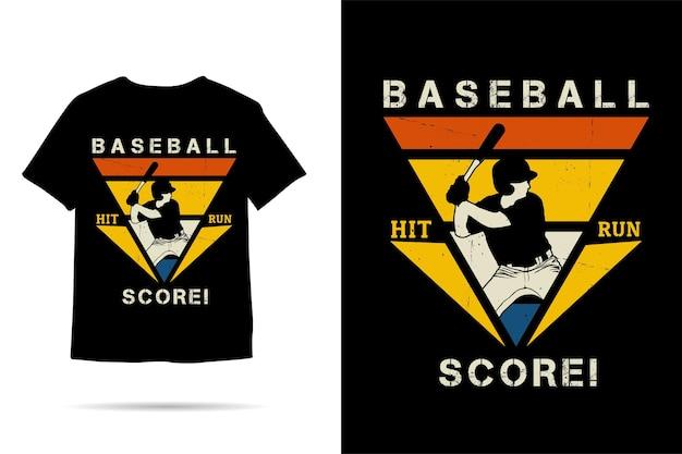 Design della maglietta della silhouette del punteggio della corsa del colpo di baseball