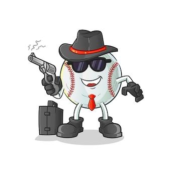 Mafia di baseball con illustrazione di carattere pistola