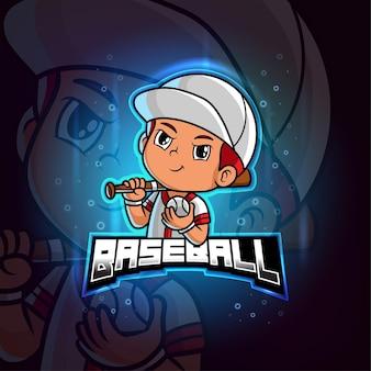 Mascotte di baseball esport logo colorato