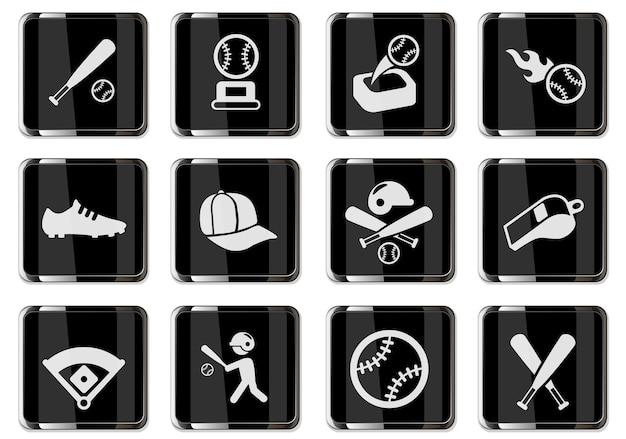 Pittogrammi di baseball in bottoni cromati neri. set di icone per il tuo design. icone vettoriali