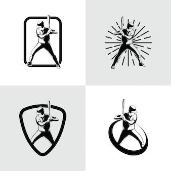 Modello di progettazione di logo di giocatore di baseball