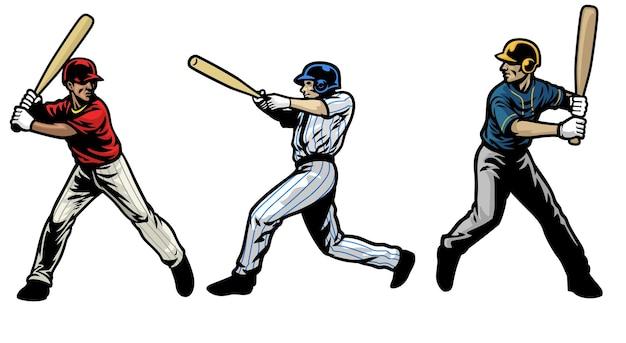 Set di giocatori di baseball che fanno oscillare la mazza