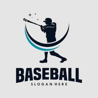 Disegno del logo di sagome vettoriali di giocatori di baseball