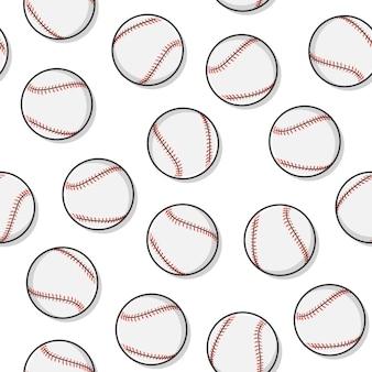 Seamless pattern di baseball su uno sfondo bianco. illustrazione di vettore dell'icona di sport di baseball di softball