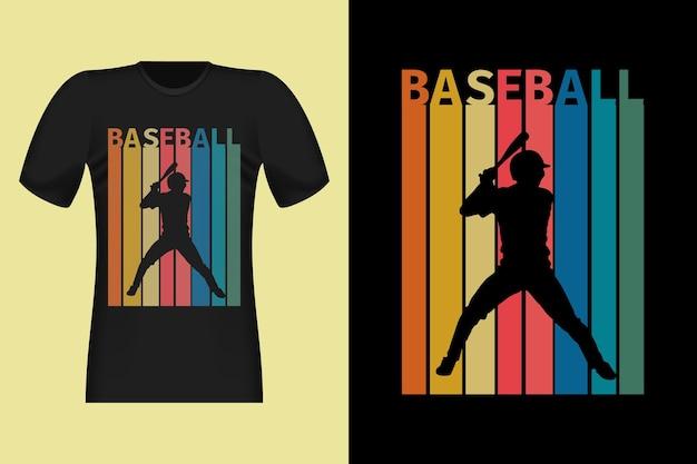 Design retrò vintage della maglietta della siluetta di baseball