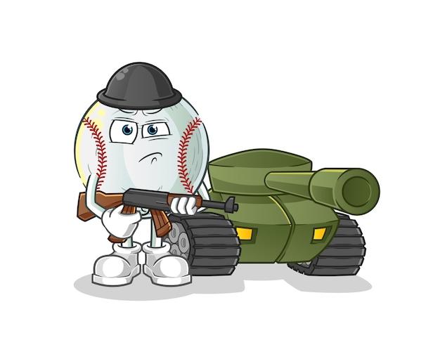 Soldato di baseball con illustrazione del carattere del carro armato
