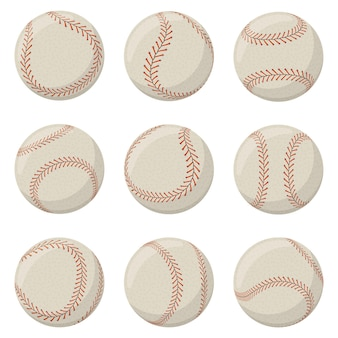 Pallone da baseball sportivo con cuciture in pizzo rosso. softball, palla da baseball in pelle decorata con set di illustrazioni vettoriali isolate lacci. attrezzatura cucita gioco sportivo