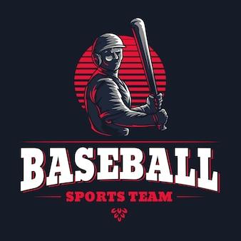 Emblema retrò inciso dell'emblema del club sportivo di baseball