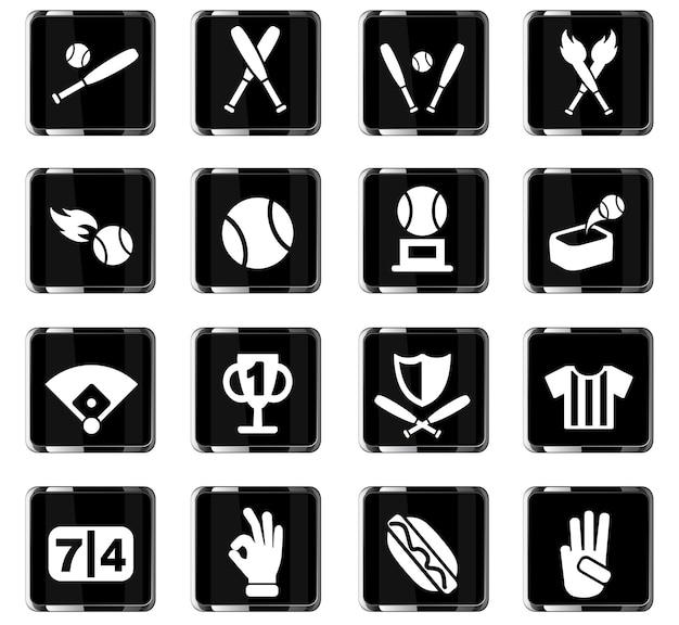 Icone web di baseball per il design dell'interfaccia utente
