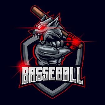 Illustrazione di progettazione del modello di logo di baseball wolf esport