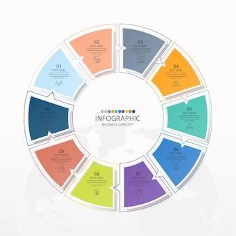 Modello di infografica cerchio di base con 10 passaggi, processo o opzioni