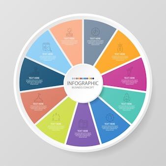 Modello infografico del cerchio di base con 11 passaggi, processo o opzioni, diagramma di processo, utilizzato per diagramma di processo, presentazioni, layout del flusso di lavoro, diagramma di flusso, infografo. illustrazione di vettore eps10.
