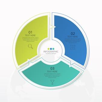 Modello di infografica cerchio di base con 3 passaggi, processo o opzioni