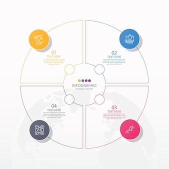 Modello di infografica cerchio di base con 4 passaggi, processo o opzioni, diagramma di processo, utilizzato per diagramma di processo, presentazioni, layout del flusso di lavoro, diagramma di flusso, infografo. illustrazione di vettore eps10.