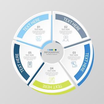 Modello di infografica cerchio di base con 5 passaggi, processo o opzioni, diagramma di processo, utilizzato per diagramma di processo, presentazioni, layout del flusso di lavoro, diagramma di flusso, infografo. illustrazione di vettore eps10.