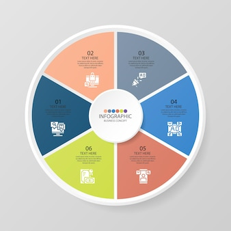 Modello di infografica cerchio di base con 6 passaggi, processo o opzioni, diagramma di processo, utilizzato per diagramma di processo, presentazioni, layout del flusso di lavoro, diagramma di flusso, infografico. illustrazione di vettore eps10.