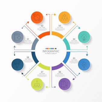Modello di infografica cerchio di base con 8 passaggi
