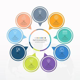Modello di infografica cerchio di base con 9 passaggi, processo o opzioni, diagramma di processo, utilizzato per diagramma di processo, presentazioni, layout del flusso di lavoro, diagramma di flusso, infografico. illustrazione di vettore eps10.