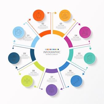 Modello di infografica cerchio di base con 9 passaggi